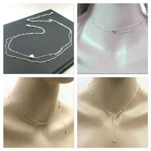925 S.Silver Star dainty double chain necklace